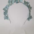 Light Blue Leather Crown,Pearls,Headband, Wedding Fascinator