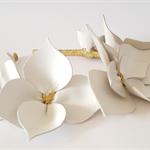 White & Gold Leather Crown,Headband, Leather Flower Headpiece, Wedding Fascinato