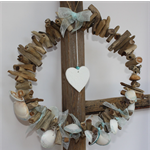 Christmas Driftwood Wreath   with silver and aqua dipped shells