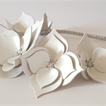 White & silver Leather Crown,Headband, Leather  Headpiece, Wedding Fascinator