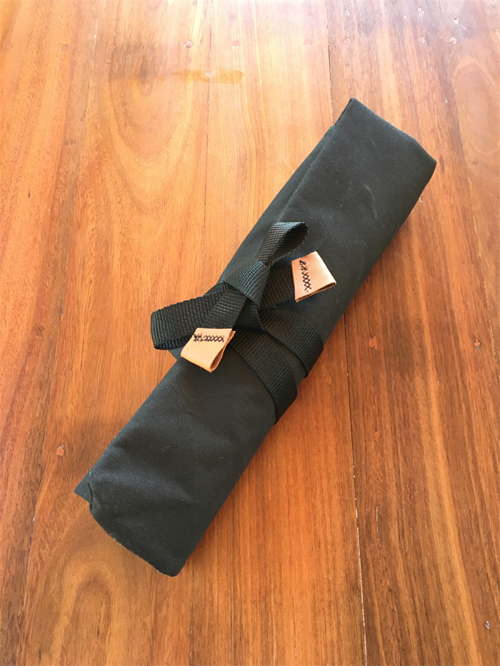 Black Canvas Knife Roll / Pouch with Leather detail | Ton-Up