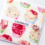 Cupcakes blooms lush colourful bright wood heart  birthday celebrate card