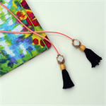 Navy/Silver/Pink Tassel Bookmark