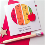 Thank you special  TEACHER stationery ruler measure tape red apple bright card