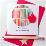 A+ Thank you custom add name TEACHER stationery  red apple bright books card