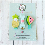 Tropical Treats Clip Trio - Watermelon - Pineapple - Baby/Girl Accessory