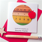 Thank you awesome TEACHER ruler measure red apple stationery card