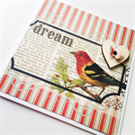Dream bird newsprint vintage blank wood lasercut heart general friend card