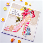 Friends celebrate shoe stiletto her vintage flowers blooms sole mates card