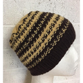 Child , FREE POST , Wool, Beanie Hat, Brown, Hand Knit,