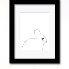 white rabbit print A4