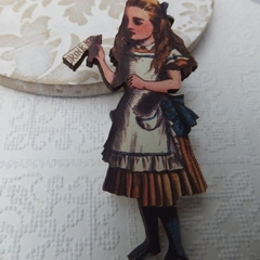 Alice in Wonderland Wooden Brooch