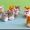 Miniature Felt Cat - Tiny kitty pet toy - thimble sized dollhouse animal