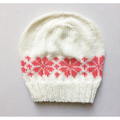 Hand-Knit, Child, Acrylic, Beanie Hat, Cream / Apricot, Flower