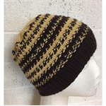Childs, Wool, Beanie Hat, Brown, Hand Knit,