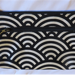 Twin zip mega purse - black and cream (free postage)