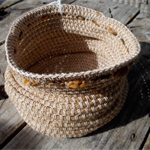 Crocheted basket made from jute, cotton and wool.  Natural, white and browns