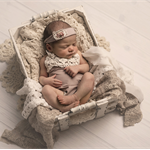 Newborn Romper Set / Baby Girl Newborn Photography Prop / Dusky Pink and Cream