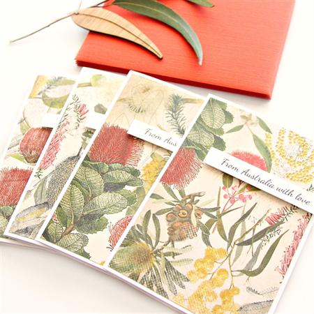 4 Australia Christmas cards botanical flora native Australiana souvenir