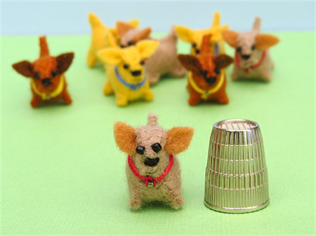 Miniature Felt Dog - Tiny doggie pet toy - thimble sized dollhouse animal
