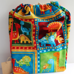 Library Book bag with Initial – Dinosaurs
