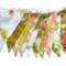 Vintage Bunting - Retro Pink Peach Floral Flags. Shabby Chic Party Decoration