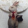 Alice in Wonderland  White Rabbit Wooden Brooch