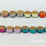 Earrings - Two Toned Hexagon