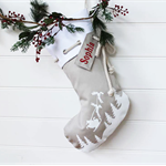 Large Personalised Christmas Stocking in Stone with Santa Sleigh
