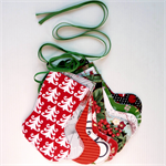 Christmas Stocking Garland, Christmas Designer Fabrics, Double Sided, Green Ties