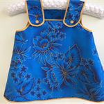 """Island Princess"" blue and gold floral size 1 (12-18 months) pinafore dress"