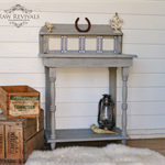 Antique Rustic Distressed Light Grey Hall Table with Tiled Feature