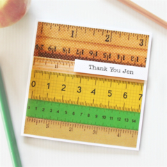 Teacher Personalised card appreciation vintage rulers