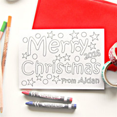 8 Colour in Merry Christmas Postcards, Personalised Custom Made, Thank You