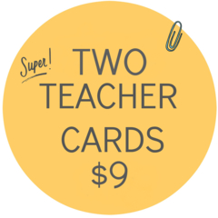 Any 2 Teacher Thank You cards Personalised custom  Christmas