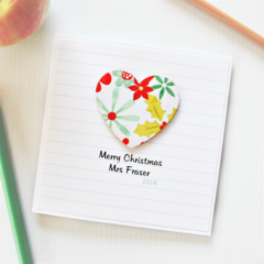 Teacher Merry Christmas card Personalised custom  thank you