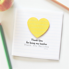 Teacher Thank You Card, Personalised, 8 Quotes, Custom Made, Yellow Stripes