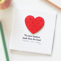 Teacher Personalised card The best teach from the heart thank you red spots