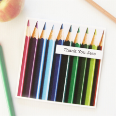 Teacher Thank You Card, Personalised Teacher Thank You Card, Pencils