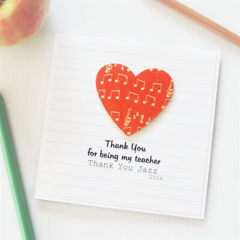 Teacher Thank You Card, Personalised, 8 Quotes, Custom Made, Music Notes