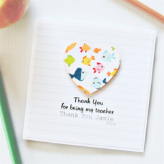 Teacher Thank You Card, Personalised, 8 Quotes, Custom Made, Fish