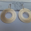 Egyptian Round Hand Cast Gold Plated Earrings with Tall Nickel Free Hooks
