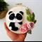 Mini Panda Wall hanging, 100% pure wool felt, mini wreath, mini wall hanging