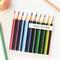 Teacher Personalised card appreciation blue purple green pencils