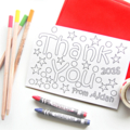 8 Colour in Thank You Postcards, Personalised Custom Made, Teacher Card