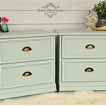 Large Pastel Mint Bedside Tables with White Trim