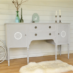 Recency Bow Front Sideboard - Grey with White Accents