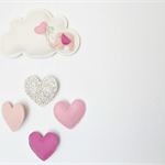 Baby Elephant with hearts - Pure wool felt Cloud mobile / wall hanging