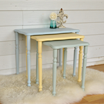 Vintage Pastel Set of Three Nest of Tables