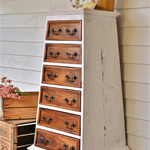 Rustic White Distressed Hardwood Pyramid Chest of Drawers